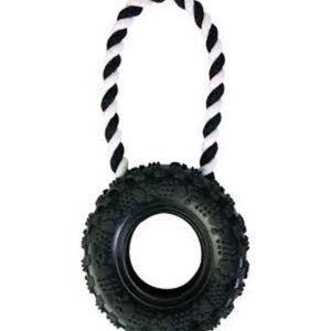 """צעצוע נשכן לכלב צמיג שחור גדול 15 ס""""מ + חבל דנטלי"""