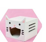בית עץ דמוי חתול לאוגר